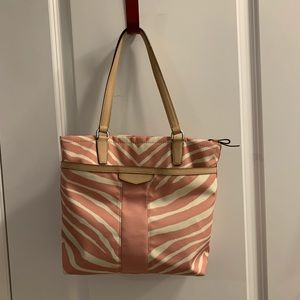 Pink and White Zebra Coach purse